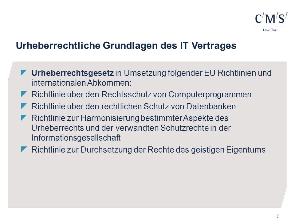 Urheberrechtliche Grundlagen des IT Vertrages Urheberrechtsgesetz in Umsetzung folgender EU Richtlinien und internationalen Abkommen: Richtlinie über