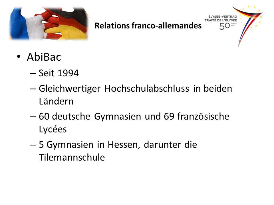 AbiBac – Seit 1994 – Gleichwertiger Hochschulabschluss in beiden Ländern – 60 deutsche Gymnasien und 69 französische Lycées – 5 Gymnasien in Hessen, d
