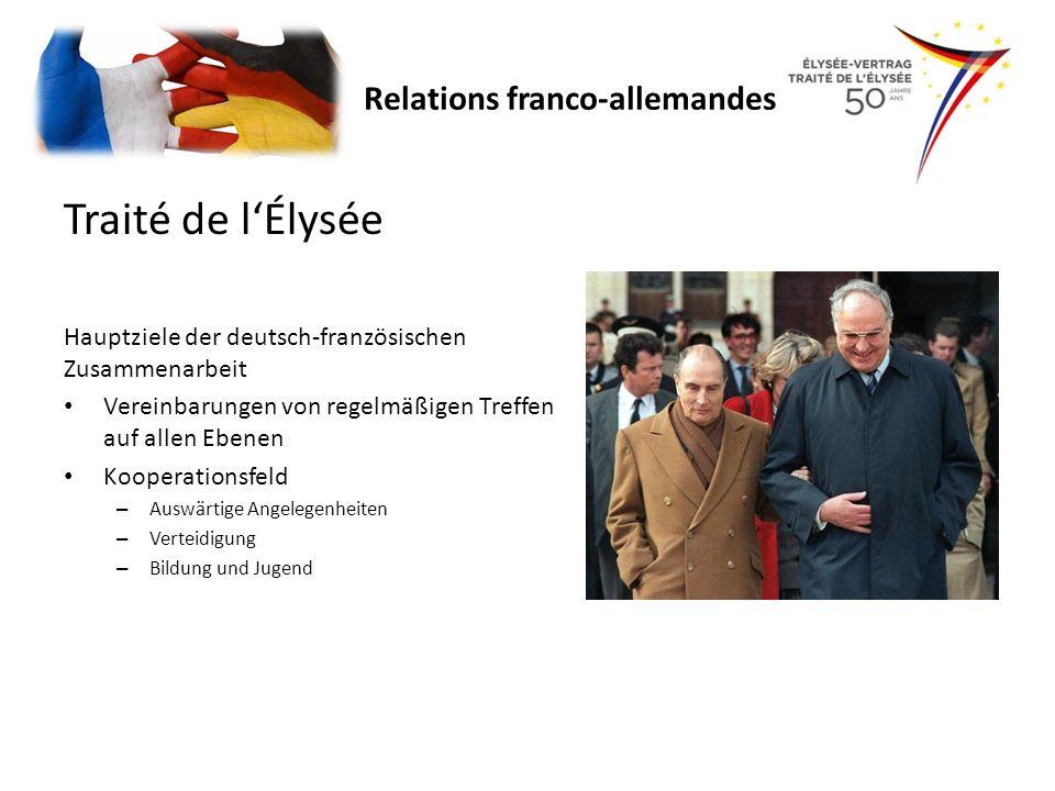 Traité de lÉlysée Hauptziele der deutsch-französischen Zusammenarbeit Vereinbarungen von regelmäßigen Treffen auf allen Ebenen Kooperationsfeld – Ausw