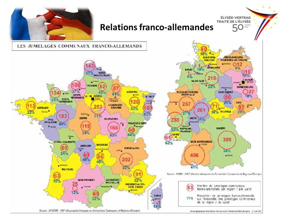 Réunification des deux Allemagnes – 1990 – 2013 deutsche Wiedervereinigung: – Frankreich: Angst, Vormachtstellung zu verlieren – Verschiebung des Gleichgewichts – Folge: Verstärkung der europäischen Zusammenarbeit aus Furcht vor einem unkontrollierbaren Deutschland – Maastrichter Vertrag, der 1993 in Kraft tritt Relations franco-allemandes