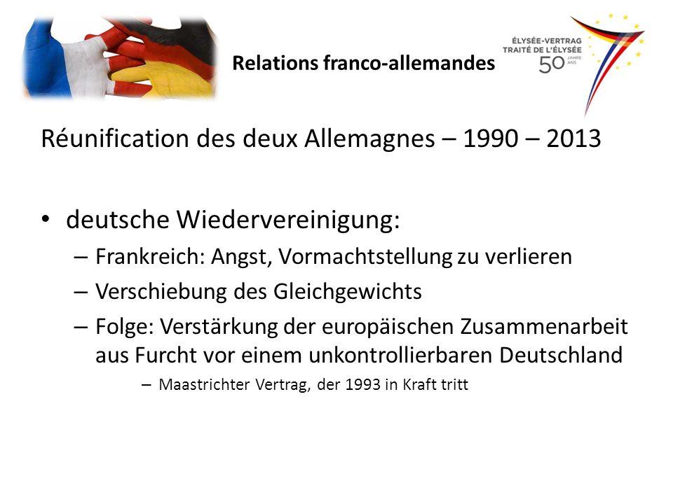 Réunification des deux Allemagnes – 1990 – 2013 deutsche Wiedervereinigung: – Frankreich: Angst, Vormachtstellung zu verlieren – Verschiebung des Glei
