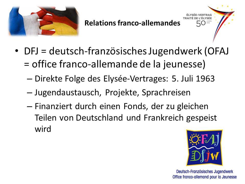 DFJ = deutsch-französisches Jugendwerk (OFAJ = office franco-allemande de la jeunesse) – Direkte Folge des Elysée-Vertrages: 5. Juli 1963 – Jugendaust