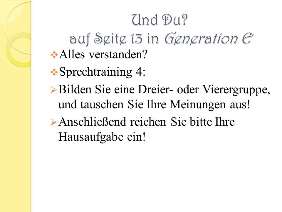 Und Du. auf Seite 13 in Generation E Alles verstanden.
