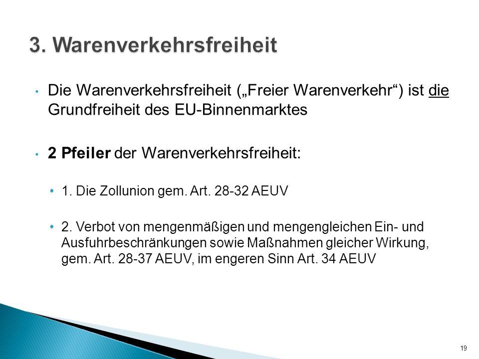 Die Warenverkehrsfreiheit (Freier Warenverkehr) ist die Grundfreiheit des EU-Binnenmarktes 2 Pfeiler der Warenverkehrsfreiheit: 1. Die Zollunion gem.