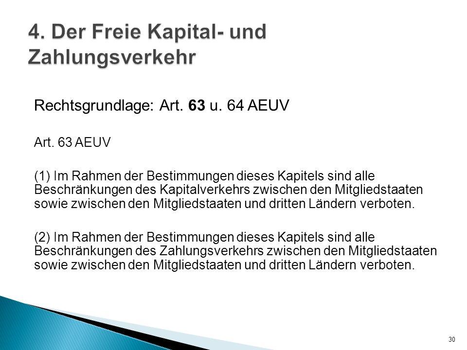 Rechtsgrundlage: Art. 63 u. 64 AEUV Art. 63 AEUV (1) Im Rahmen der Bestimmungen dieses Kapitels sind alle Beschränkungen des Kapitalverkehrs zwischen