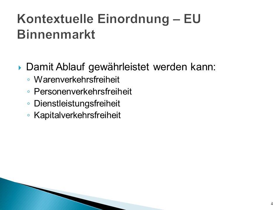 Damit Ablauf gewährleistet werden kann: Warenverkehrsfreiheit Personenverkehrsfreiheit Dienstleistungsfreiheit Kapitalverkehrsfreiheit 4