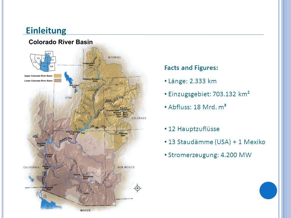 Einleitung Facts and Figures: Länge: 2.333 km Einzugsgebiet: 703.132 km² Abfluss: 18 Mrd. m³ 12 Hauptzuflüsse 13 Staudämme (USA) + 1 Mexiko Stromerzeu