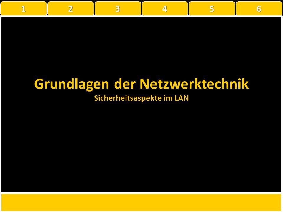 Grundlagen der Netzwerktechnik Sicherheitsaspekte im LAN 1 22223456