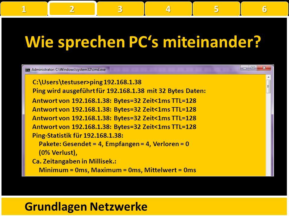 Wie sprechen PCs miteinander? Grundlagen Netzwerke C:\Users\thomas>ipconfig Windows-IP-Konfiguration Drahtlos-LAN-Adapter Drahtlosnetzwerkverbindung: