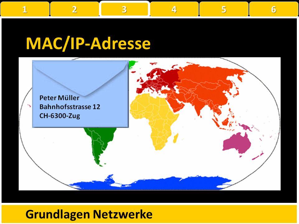 MAC-Adresse Media-Access-Control-Adresse Weltweit eindeutige Identifikationsnr der Netzwerkadapter Besteht aus 48Bit oder 6 Bytes: xx-xx-xx-xx-xx-xx E