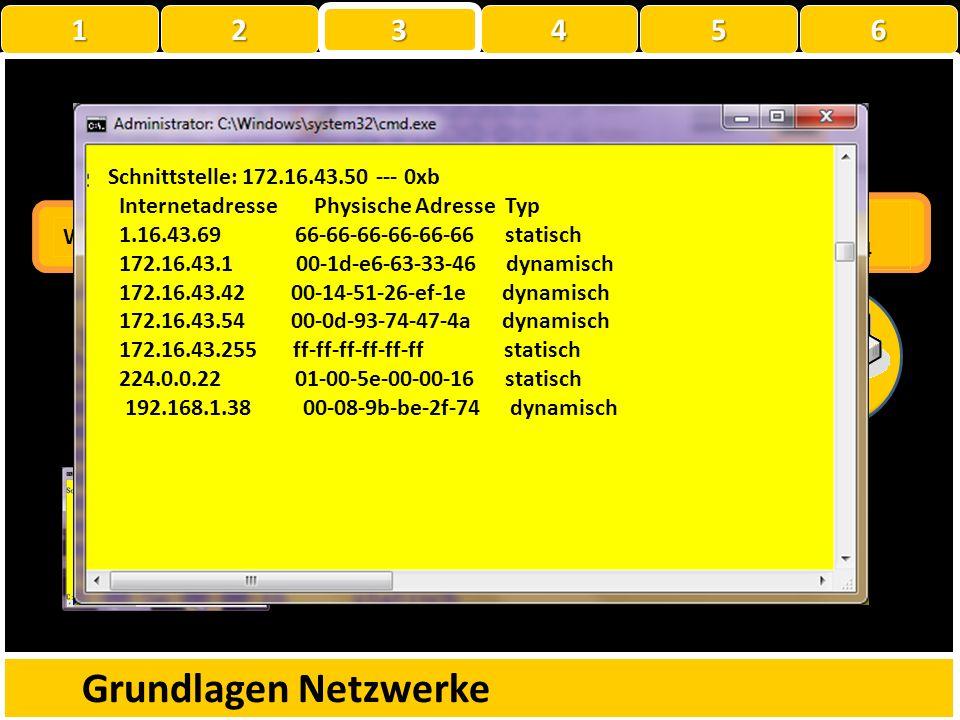 ARP-Tabelle Grundlagen Netzwerke C:\Users\testuser>arp -a Schnittstelle: 192.168.1.38 --- 0xc InternetadressePhysische AdresseTyp 192.168.1.100-a0-c5-