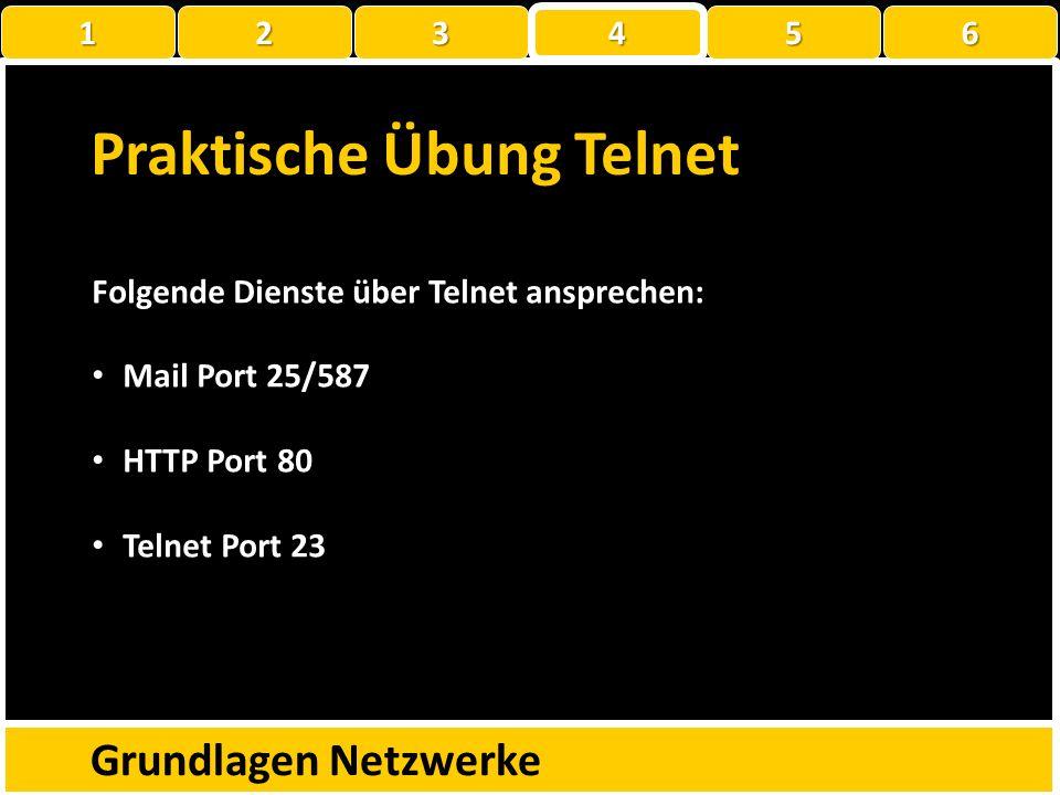 Well Known Ports Grundlagen Netzwerke NummerDienstBeschreibung 7EchoZurücksenden empfangener Daten 20/21FTPDatei Transfer 23TelnetTerminalemulation 25