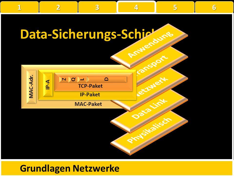 ? Z Z Q Q D D L L TCP-Paket IP-Paket IP-Adresse Netzwerkschicht Grundlagen Netzwerke 1 22223 4 56