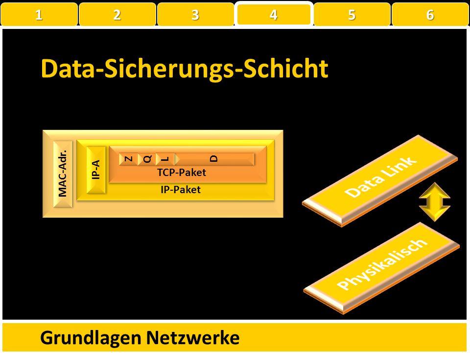 Data-Sicherungs-Schicht Grundlagen Netzwerke MAC-Adr. MAC-Paket ? Z Z Q Q D D L L TCP-Paket IP-Paket IP-A 1 22223 4 56