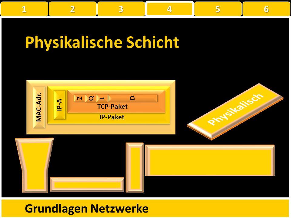 Physikalische Schicht Grundlagen Netzwerke MAC-Adr. ? Z Z Q Q D D L L TCP-Paket IP-Paket IP-A 1 22223 4 56
