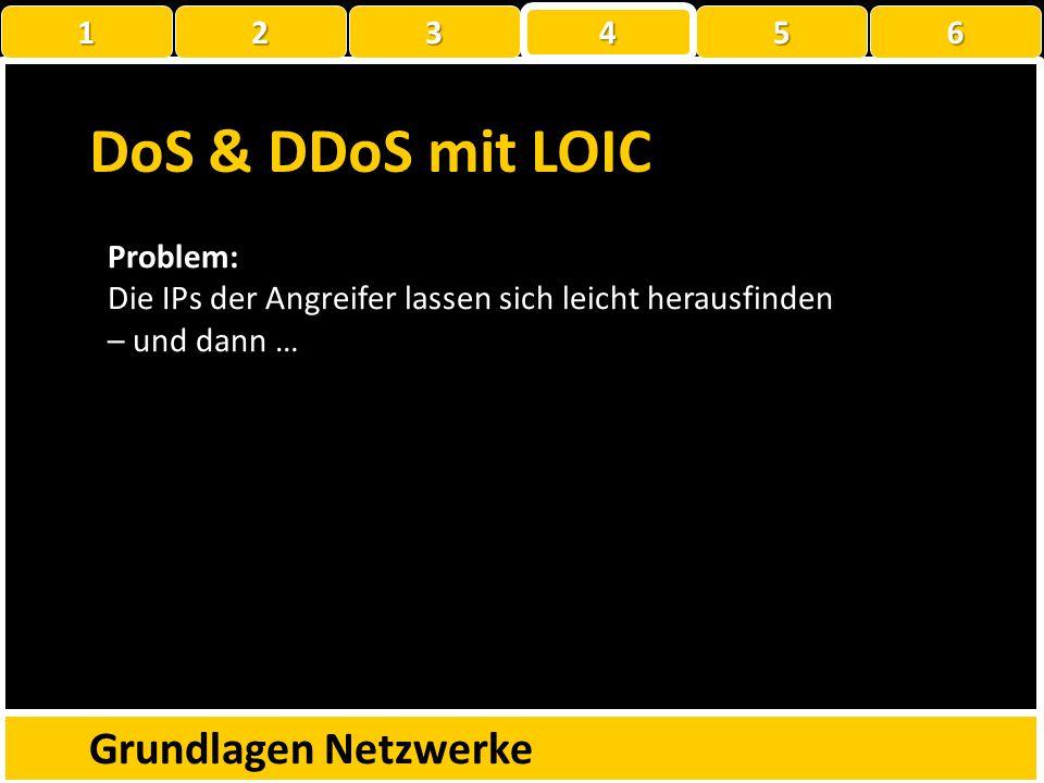 DoS & DDoS mit LOIC Grundlagen Netzwerke 1 22223 4 56 Relevanz: Mit LOIC wurden 2010 bei der Operation Payback die folgenden Dienstleister lahmgelegt: