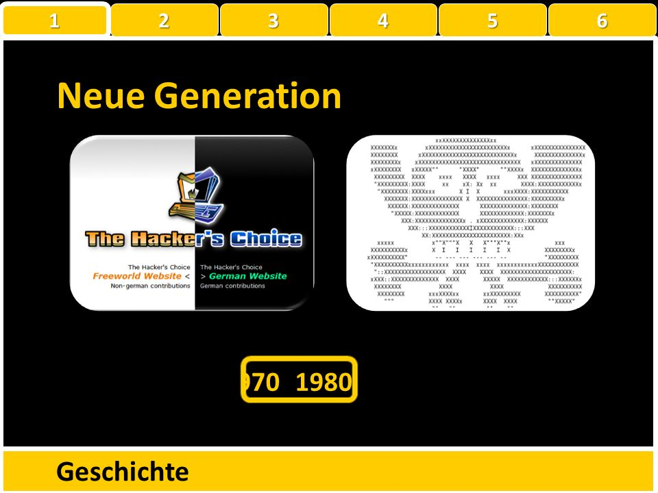 Geschichte 1960197019801990200020101950 Neue Generation 1 22223456