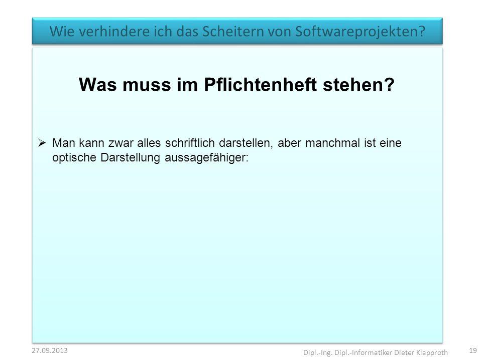 Wie verhindere ich das Scheitern von Softwareprojekten? 27.09.2013 Dipl.-Ing. Dipl.-Informatiker Dieter Klapproth 19 Was muss im Pflichtenheft stehen?