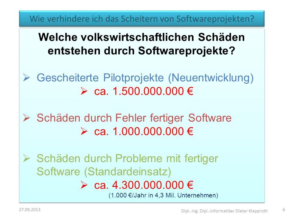 Wie verhindere ich das Scheitern von Softwareprojekten? 27.09.2013 Dipl.-Ing. Dipl.-Informatiker Dieter Klapproth 6 Welche volkswirtschaftlichen Schäd