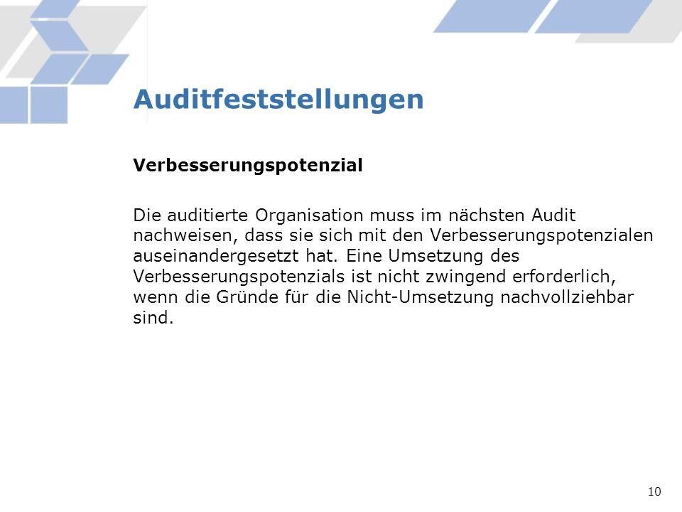 Auditfeststellungen Verbesserungspotenzial Die auditierte Organisation muss im nächsten Audit nachweisen, dass sie sich mit den Verbesserungspotenzial