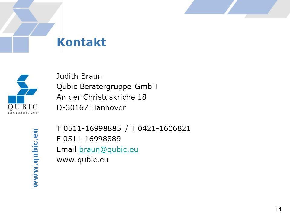 Judith Braun Qubic Beratergruppe GmbH An der Christuskriche 18 D-30167 Hannover T 0511-16998885 / T 0421-1606821 F 0511-16998889 Email braun@qubic.eub