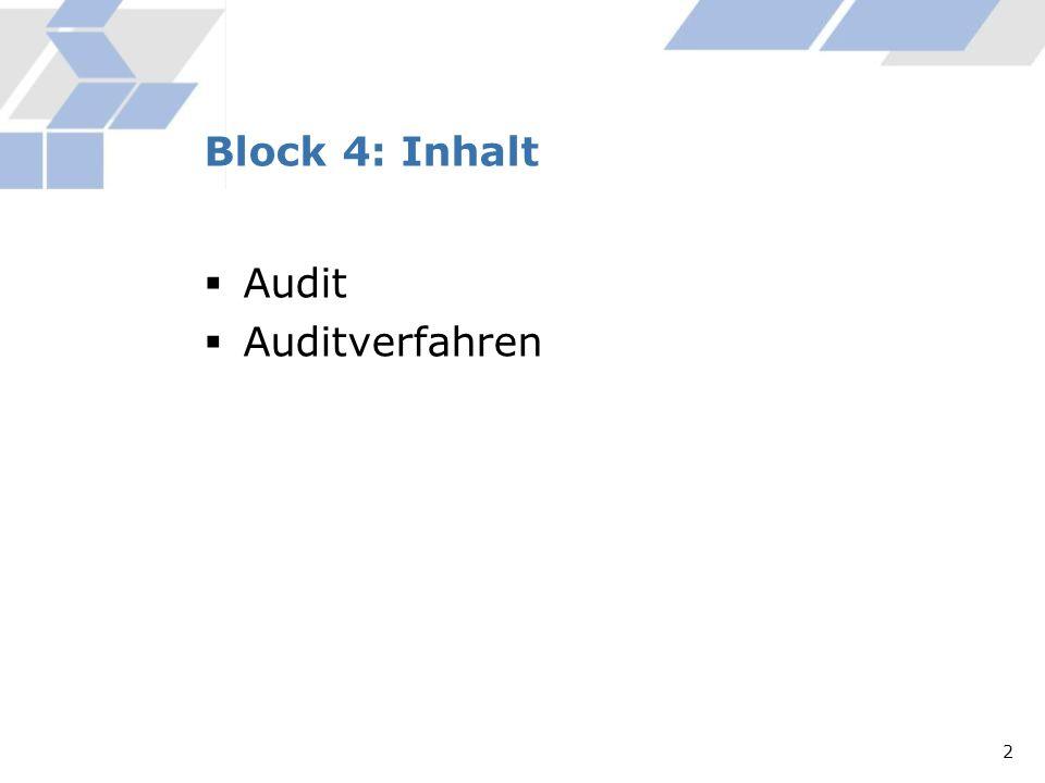 Audit Auditverfahren Block 4: Inhalt 2