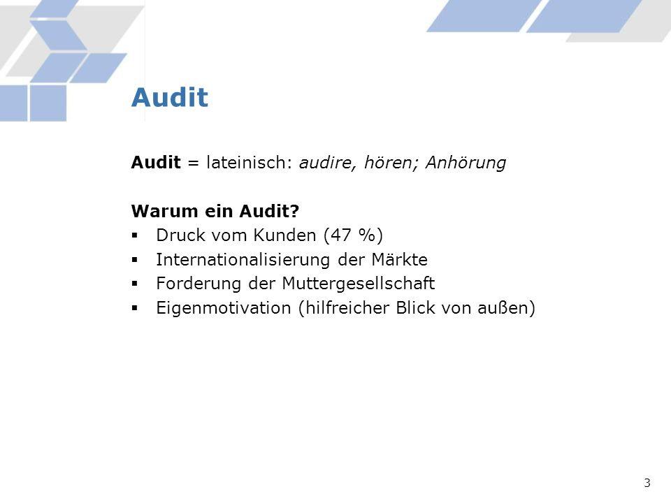 Audit Audit = lateinisch: audire, hören; Anhörung Warum ein Audit? Druck vom Kunden (47 %) Internationalisierung der Märkte Forderung der Muttergesell