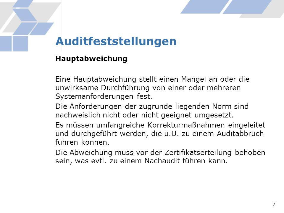 Auditfeststellungen Hauptabweichung Eine Hauptabweichung stellt einen Mangel an oder die unwirksame Durchführung von einer oder mehreren Systemanforde
