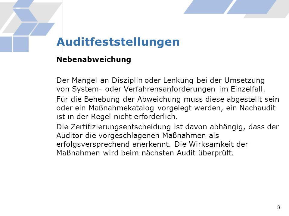 Auditfeststellungen Nebenabweichung Der Mangel an Disziplin oder Lenkung bei der Umsetzung von System- oder Verfahrensanforderungen im Einzelfall. Für