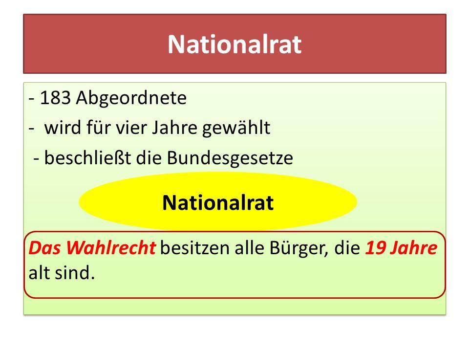 Nationalrat - 183 Abgeordnete - wird für vier Jahre gewählt - beschließt die Bundesgesetze Das Wahlrecht besitzen alle Bürger, die 19 Jahre alt sind.