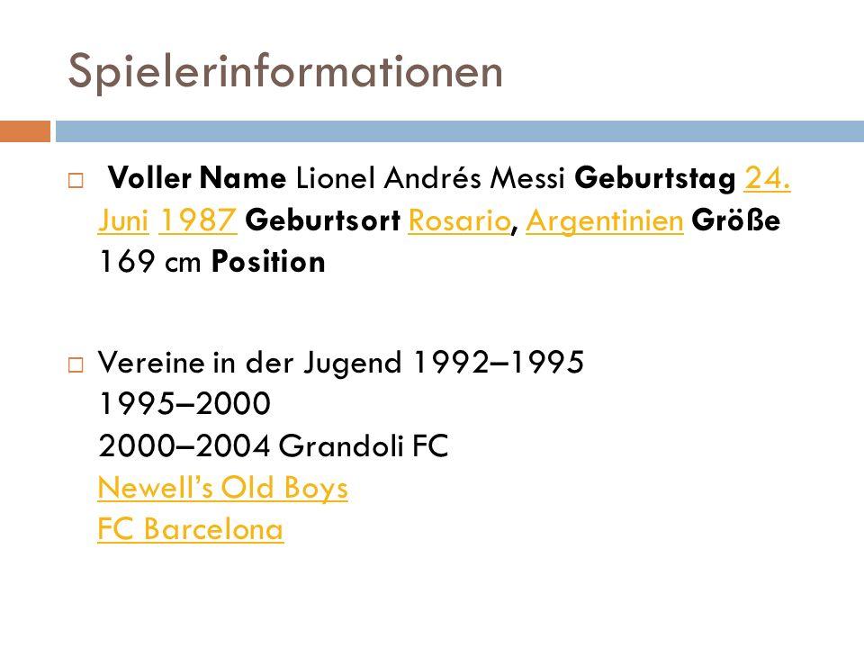 Jugend von Lionel Messi Mit fünf Jahren trat Lionel Andrés Messi in den Fußballverein Grandoli FC ein. Nach drei Jahren wechselte er 1995 zu den Newel