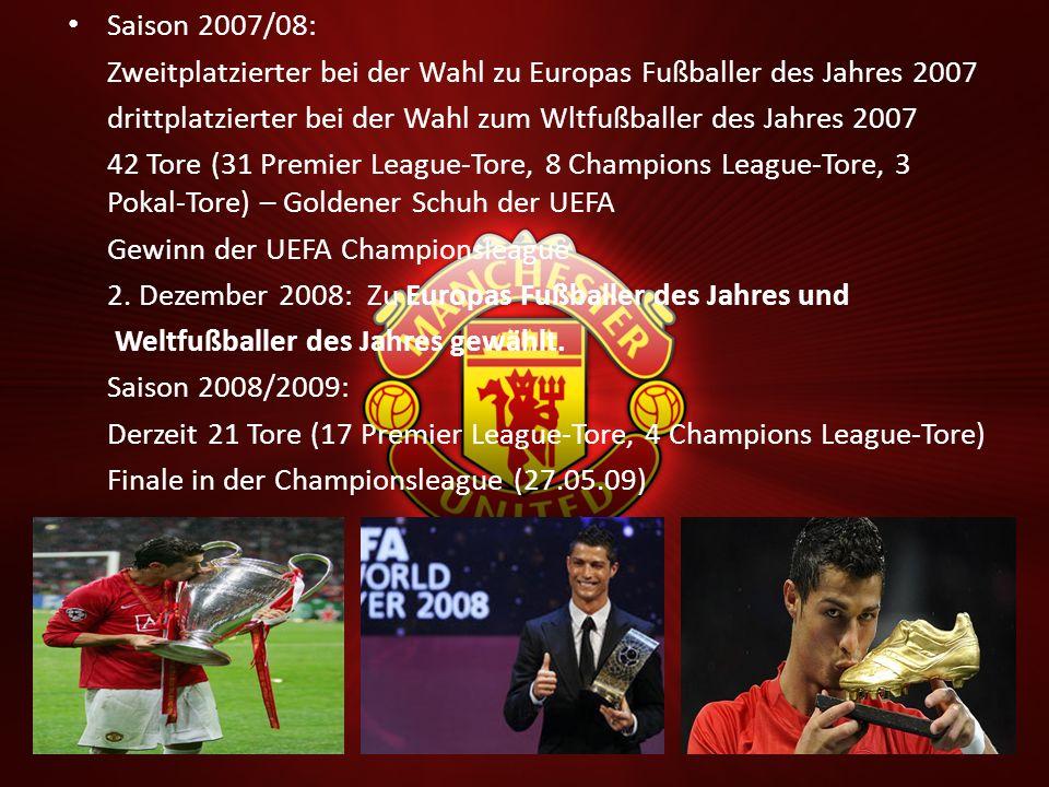 Saison 2007/08: Zweitplatzierter bei der Wahl zu Europas Fußballer des Jahres 2007 drittplatzierter bei der Wahl zum Wltfußballer des Jahres 2007 42 T