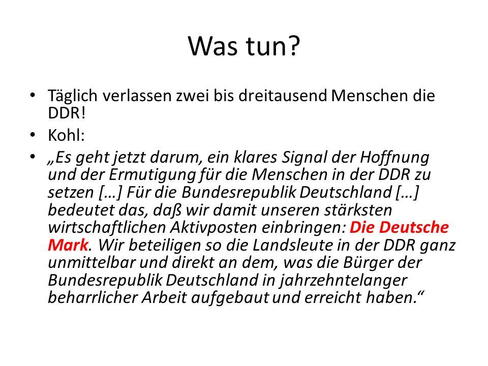 Was tun? Täglich verlassen zwei bis dreitausend Menschen die DDR! Kohl: Es geht jetzt darum, ein klares Signal der Hoffnung und der Ermutigung für die