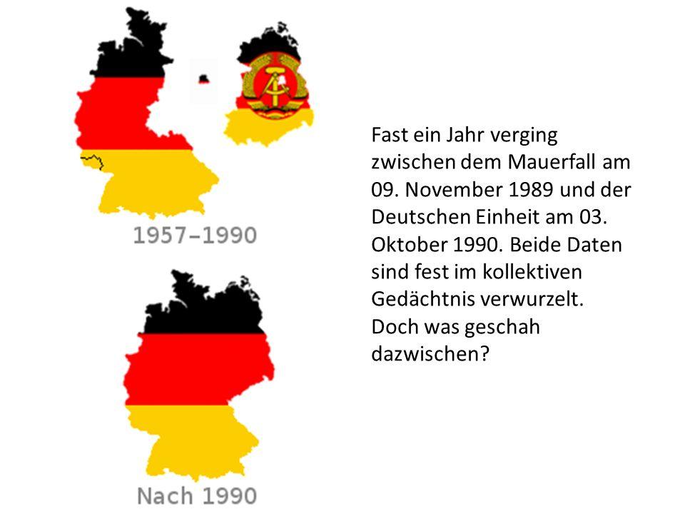 Fast ein Jahr verging zwischen dem Mauerfall am 09. November 1989 und der Deutschen Einheit am 03. Oktober 1990. Beide Daten sind fest im kollektiven