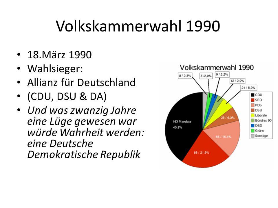 Volkskammerwahl 1990 18.März 1990 Wahlsieger: Allianz für Deutschland (CDU, DSU & DA) Und was zwanzig Jahre eine Lüge gewesen war würde Wahrheit werden: eine Deutsche Demokratische Republik