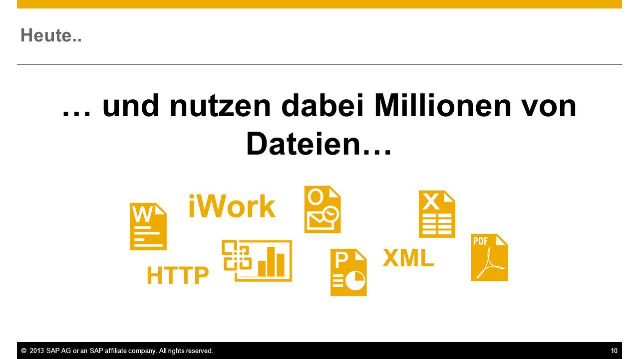 ©2013 SAP AG or an SAP affiliate company. All rights reserved.10 Heute.. HTTP XML iWork … und nutzen dabei Millionen von Dateien…