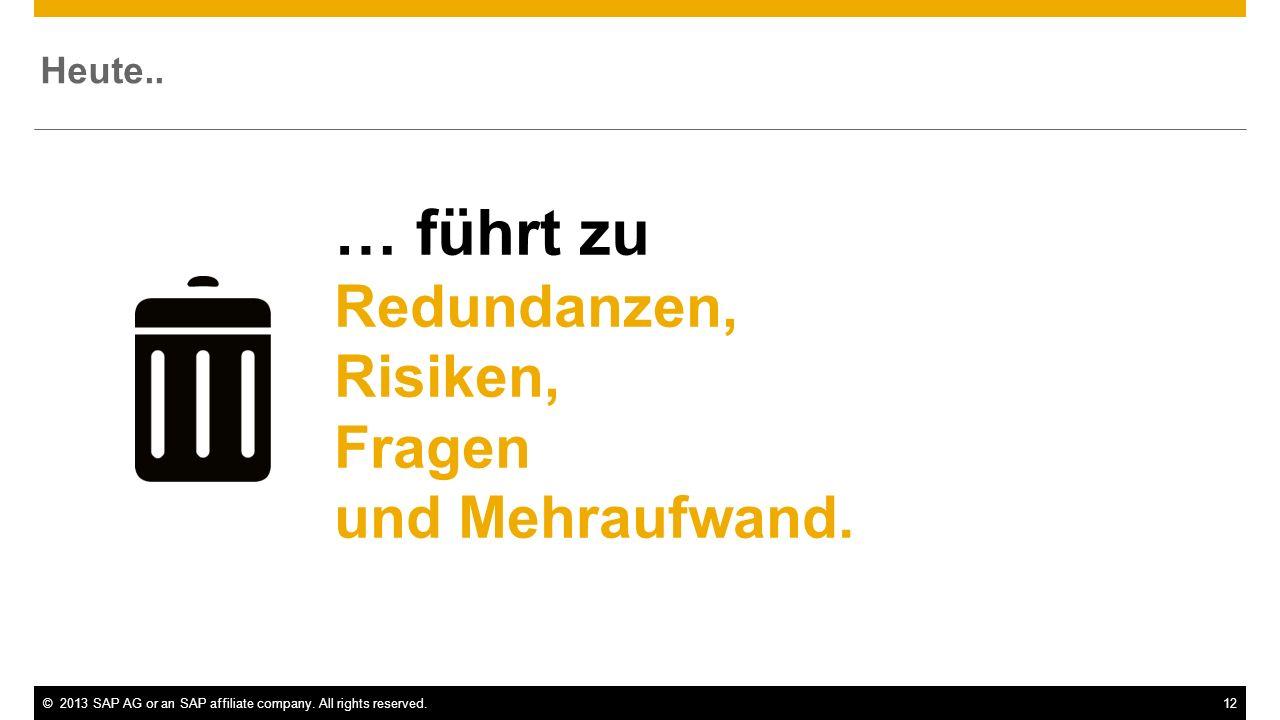 ©2013 SAP AG or an SAP affiliate company. All rights reserved.12 … führt zu Redundanzen, Risiken, Fragen und Mehraufwand. Heute..