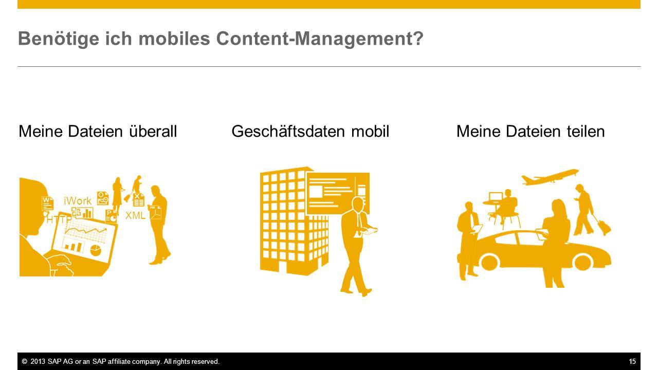 ©2013 SAP AG or an SAP affiliate company. All rights reserved.15 Meine Dateien überallGeschäftsdaten mobilMeine Dateien teilen Benötige ich mobiles Co