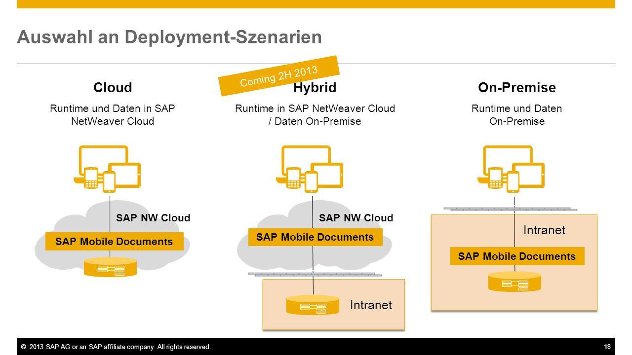 18 Cloud Runtime und Daten in SAP NetWeaver Cloud Auswahl an Deployment-Szenarien SAP NW Cloud SAP Mobile Documents Hybrid Runtime in SAP NetWeaver Cl