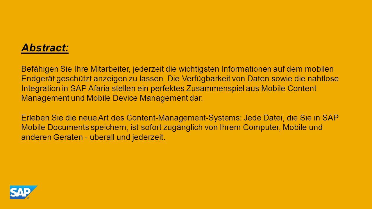 Abstract: Befähigen Sie Ihre Mitarbeiter, jederzeit die wichtigsten Informationen auf dem mobilen Endgerät geschützt anzeigen zu lassen. Die Verfügbar