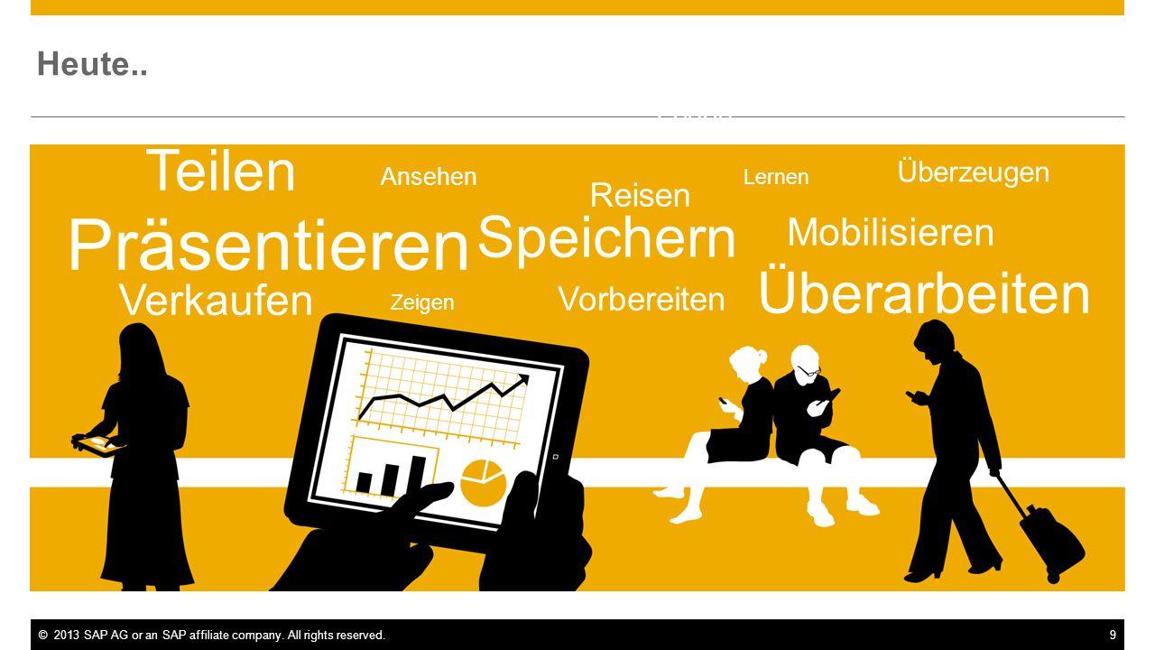 ©2013 SAP AG or an SAP affiliate company. All rights reserved.9 Heute.. Teilen Präsentieren Überarbeiten Speichern Reisen Vorbereiten Mobilisieren Les