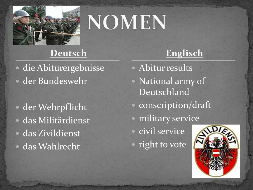 Deutsch die Abiturergebnisse der Bundeswehr der Wehrpflicht das Militärdienst das Zivildienst das Wahlrecht Abitur results National army of Deutschland conscription/draft military service civil service right to vote Englisch