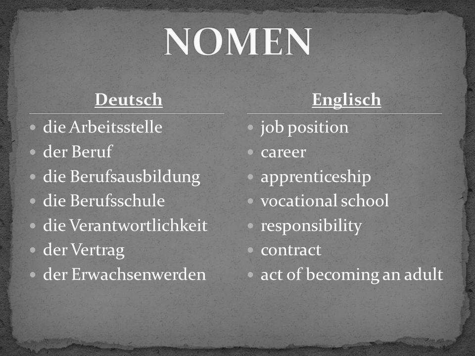 Deutsch einziehen sich entscheiden heiraten mieten annehmen unterschreiben move into decide marry rent take on/accept sign Englisch