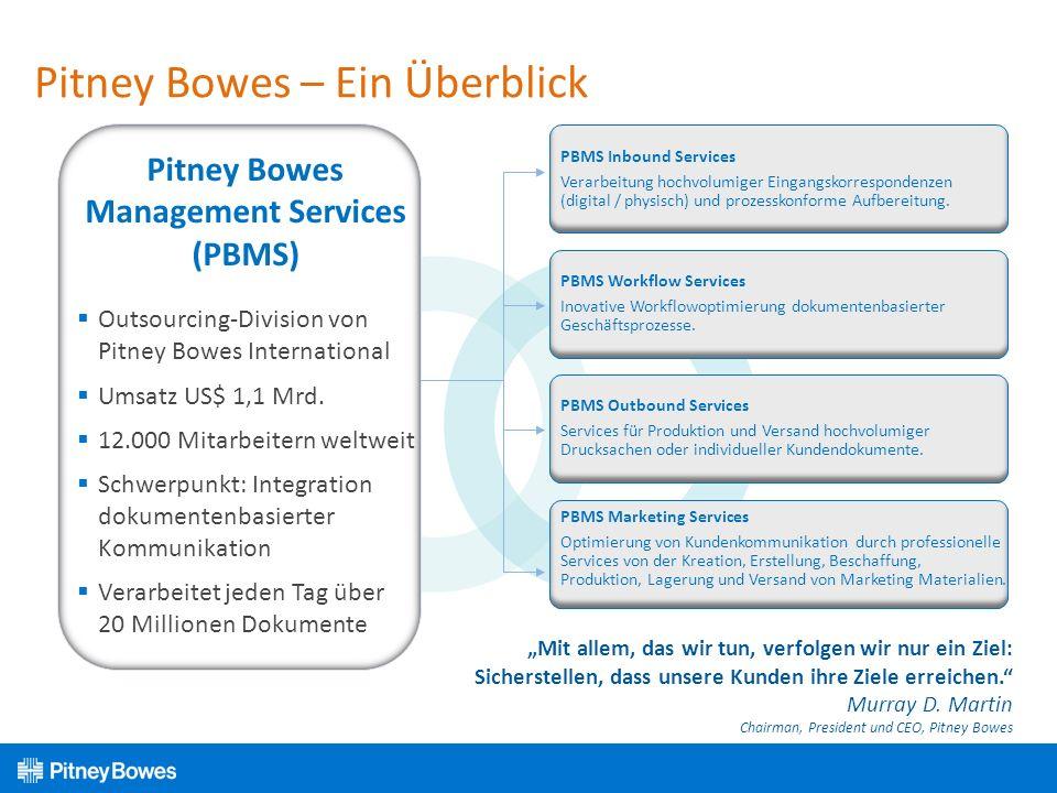 Pitney Bowes – Ein Überblick Outsourcing-Division von Pitney Bowes International Umsatz US$ 1,1 Mrd. 12.000 Mitarbeitern weltweit Schwerpunkt: Integra