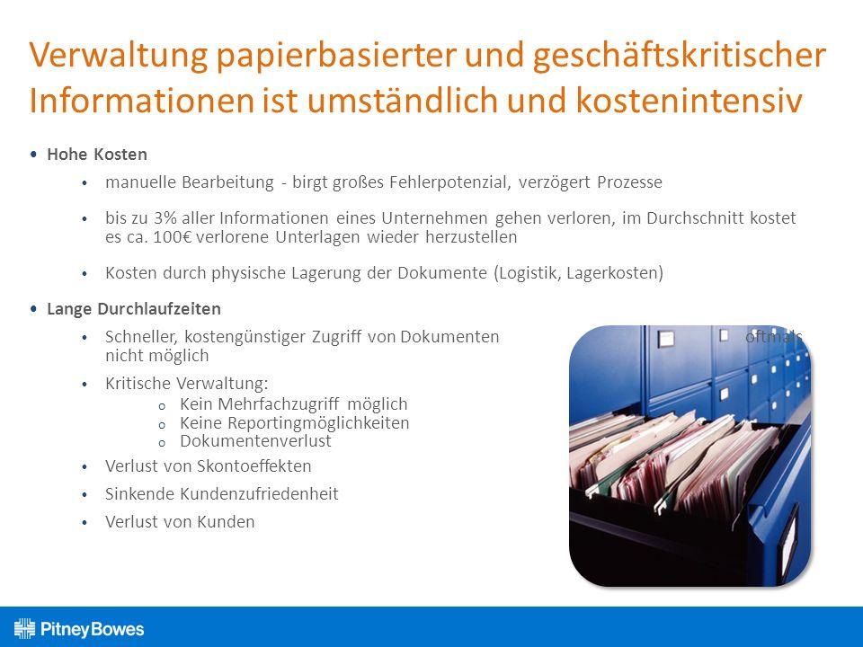 Verwaltung papierbasierter und geschäftskritischer Informationen ist umständlich und kostenintensiv Hohe Kosten manuelle Bearbeitung - birgt großes Fe