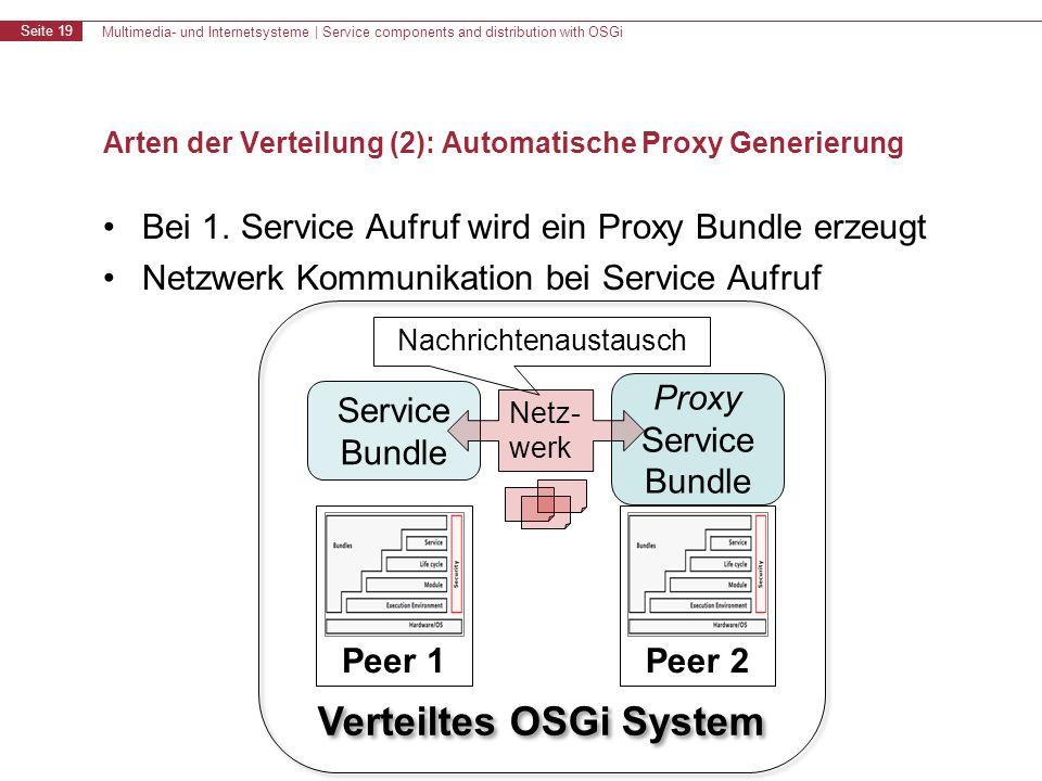 Multimedia- und Internetsysteme | Service components and distribution with OSGi Seite 19 Verteiltes OSGi System Arten der Verteilung (2): Automatische Proxy Generierung Bei 1.
