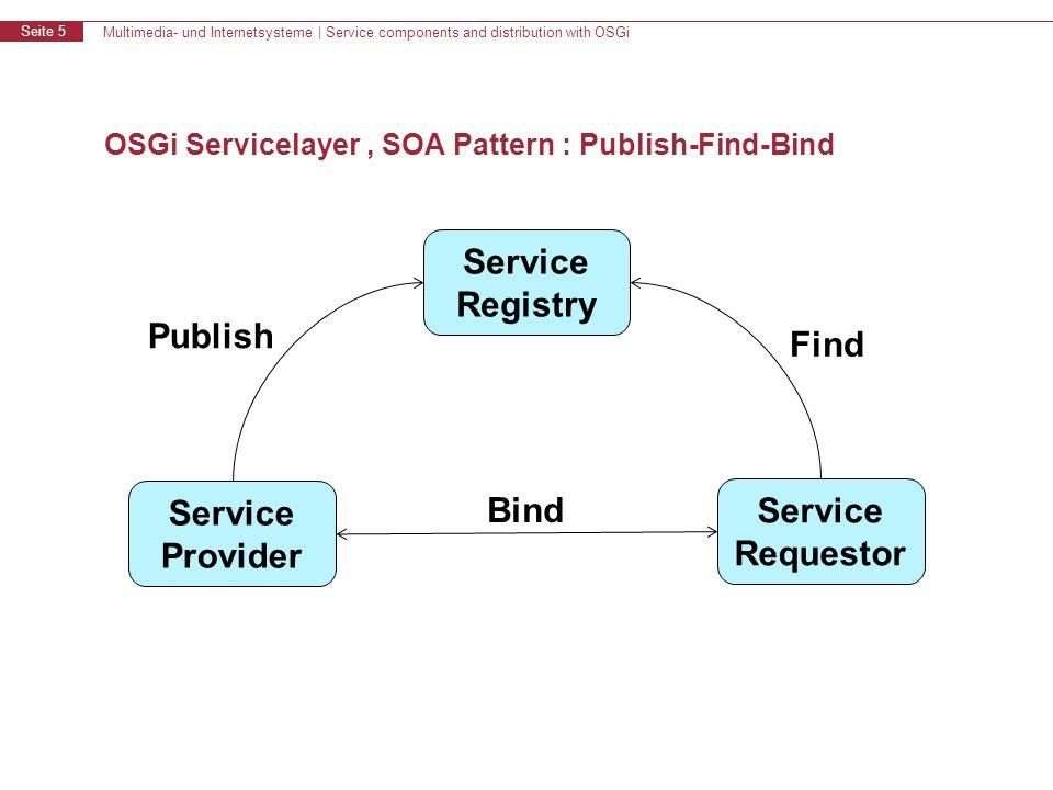 Multimedia- und Internetsysteme   Service components and distribution with OSGi Seite 16 Inhalt OSGi Einführung Service Component Models OSGi für Verteilte Systeme Zusammenfassung