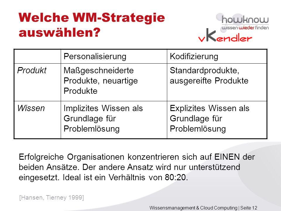 Wissensmanagement & Cloud Computing | Seite 12 Welche WM-Strategie auswählen? PersonalisierungKodifizierung ProduktMaßgeschneiderte Produkte, neuartig