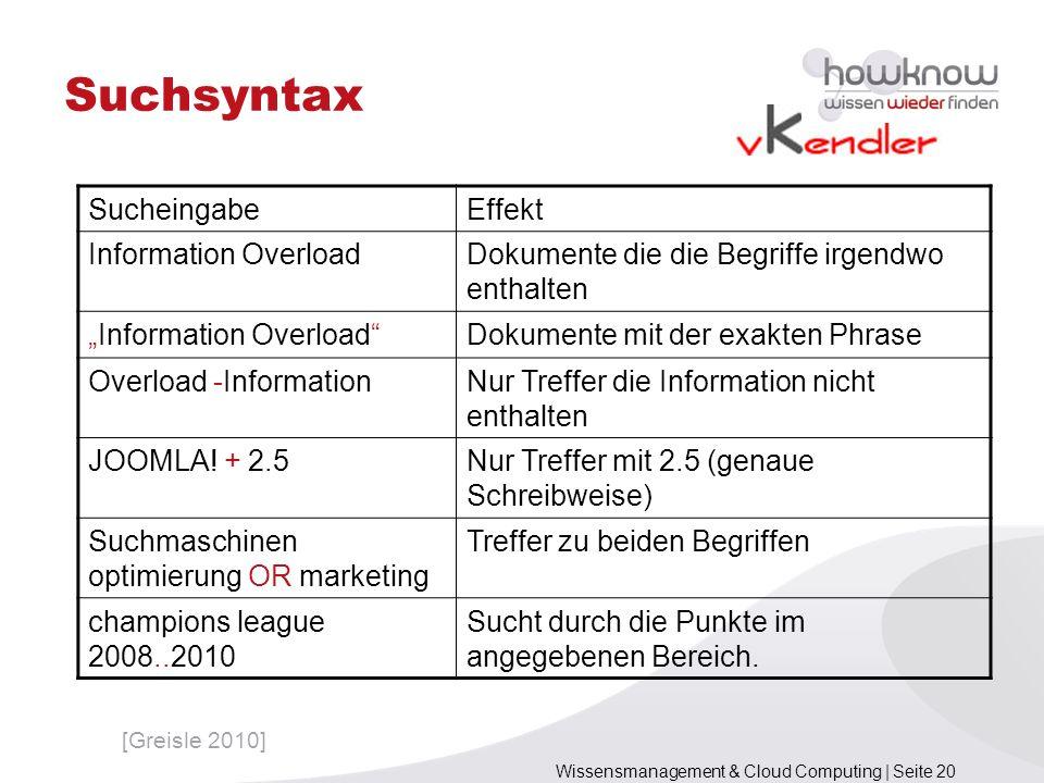 Wissensmanagement & Cloud Computing | Seite 20 Suchsyntax SucheingabeEffekt Information OverloadDokumente die die Begriffe irgendwo enthalten Informat