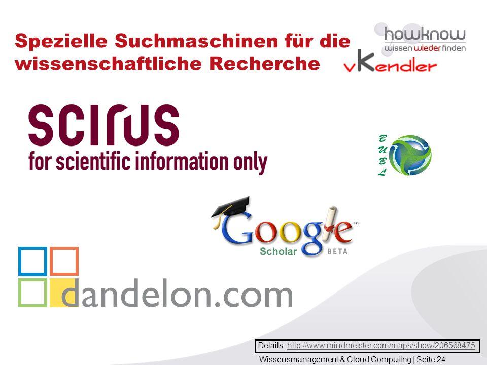 Wissensmanagement & Cloud Computing | Seite 24 Spezielle Suchmaschinen für die wissenschaftliche Recherche Details: http://www.mindmeister.com/maps/sh
